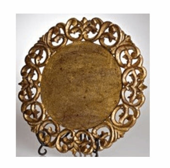 Vendome Wood Round Placemat in Gold