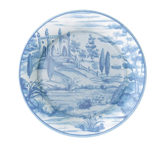 Tuscan Toile Paper Salad & Dessert Plates in Blue - 8 Per Package
