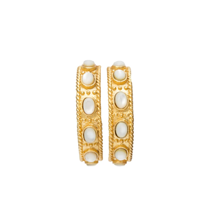 Christina Greene, Southwestern Hoop Earrings - Pearl