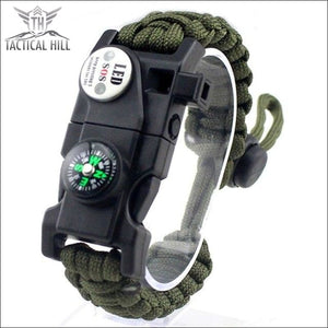 Led Survival Bracelet - Army Green - Survival Bracelet