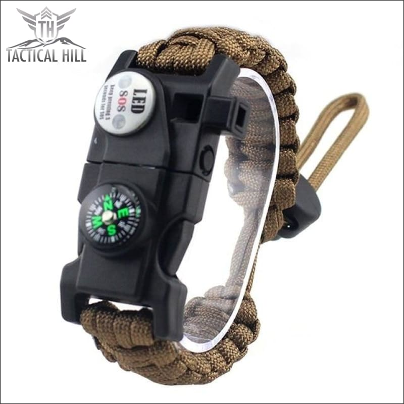 Led Survival Bracelet - Brown - Survival Bracelet