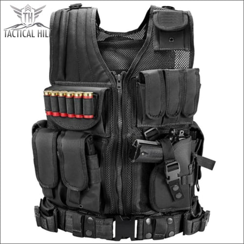Military Tactical Vest + Utility Belt - Black - Vest
