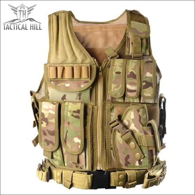 Military Tactical Vest + Utility Belt - Cp Camo - Vest