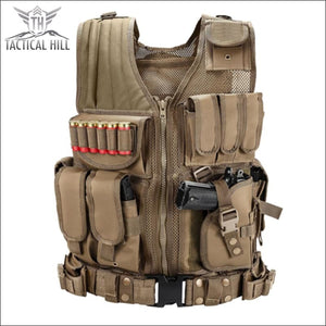 Military Tactical Vest + Utility Belt - Tan - Vest