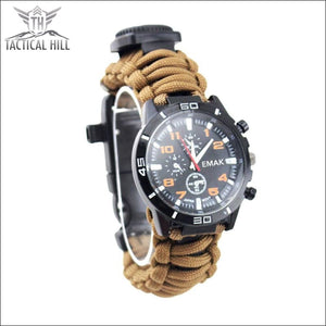 Paracord 16 In 1 Survival Watch - Brown