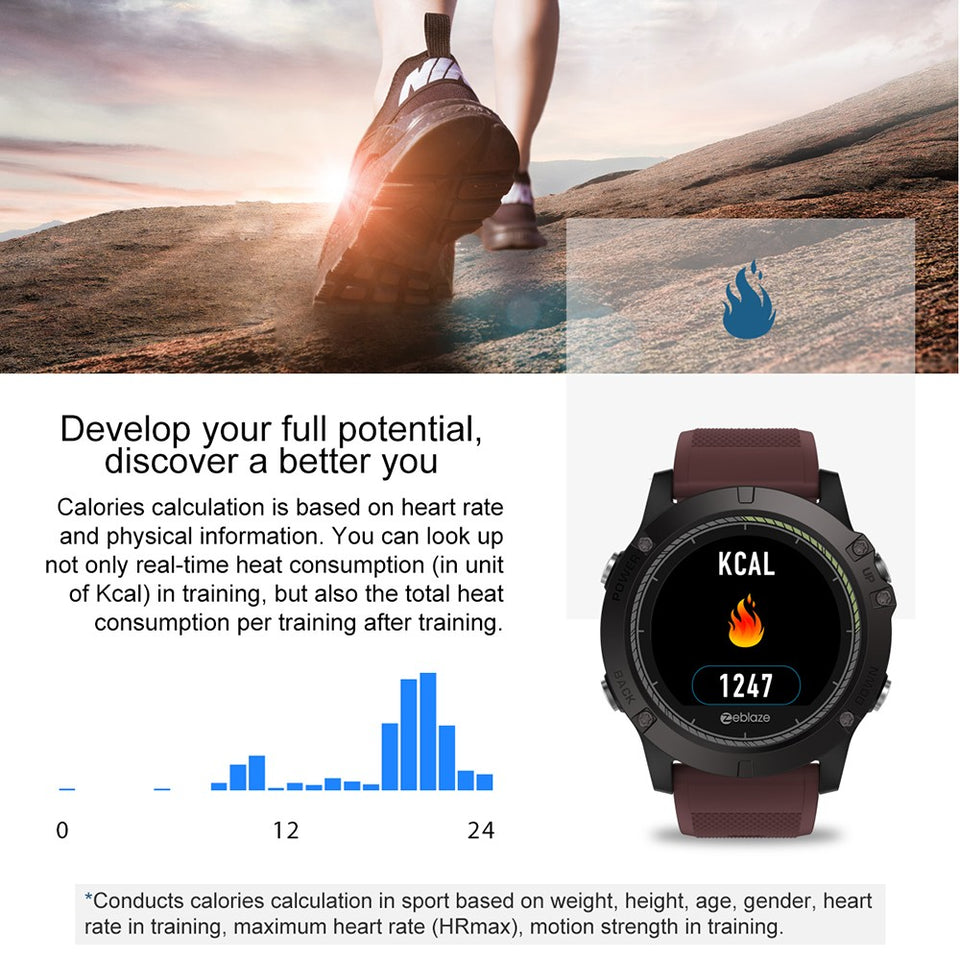Rugged Smartwatch Tact VIBE 3 HR calorie burn