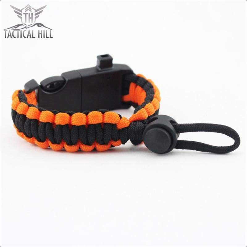Tactical Survival Bracelet-Orange-Black