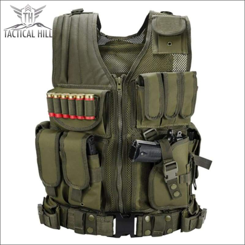Vest - Military Tactical Vest + Utility Belt - Army Green - Front