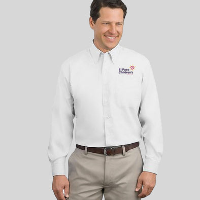 Mens Long Sleeve White Button Up - White