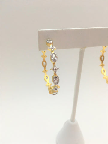 Hoop Oval Clear Stones Earring