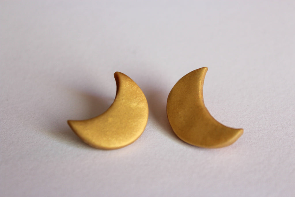 Moon Studs // Gold