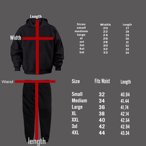 Sweatsuit and Tracksuit Size Chart
