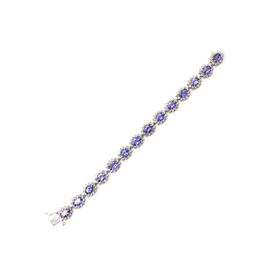 14k white gold bracelet with natural tanzanite and diamonds: