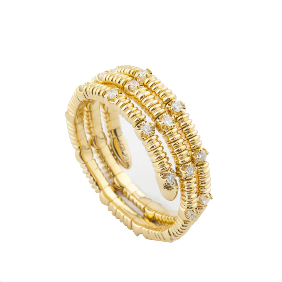 18K Gold Elastic Ring with Diamond