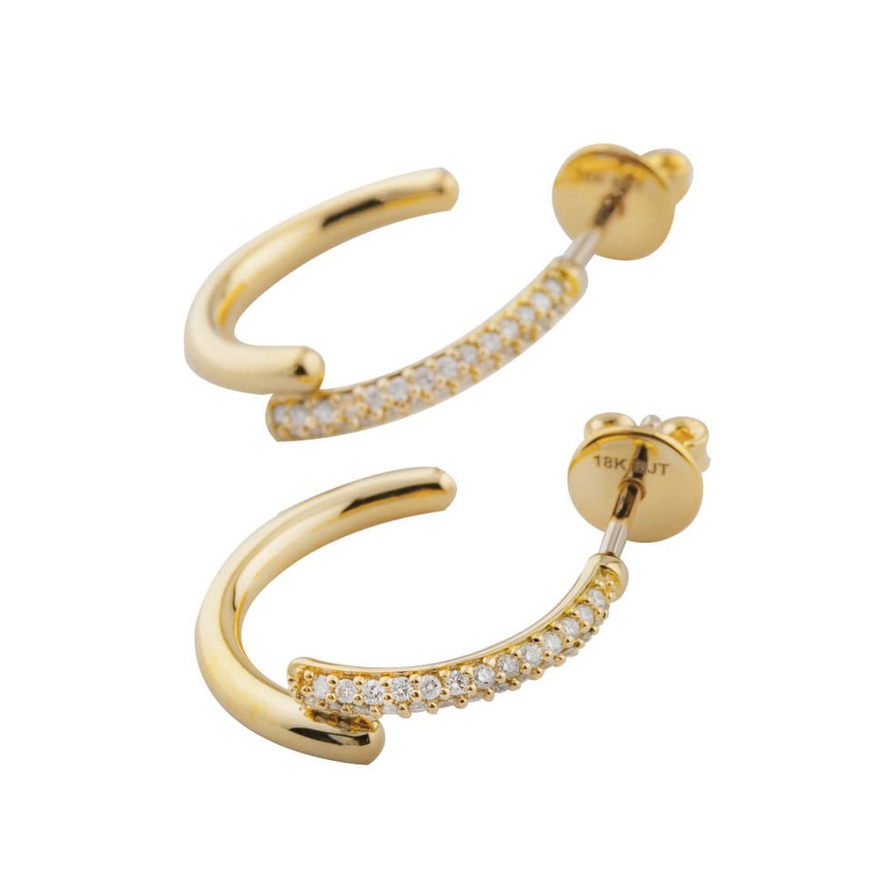 18K Gold J Smile Hoop Earring with Diamond