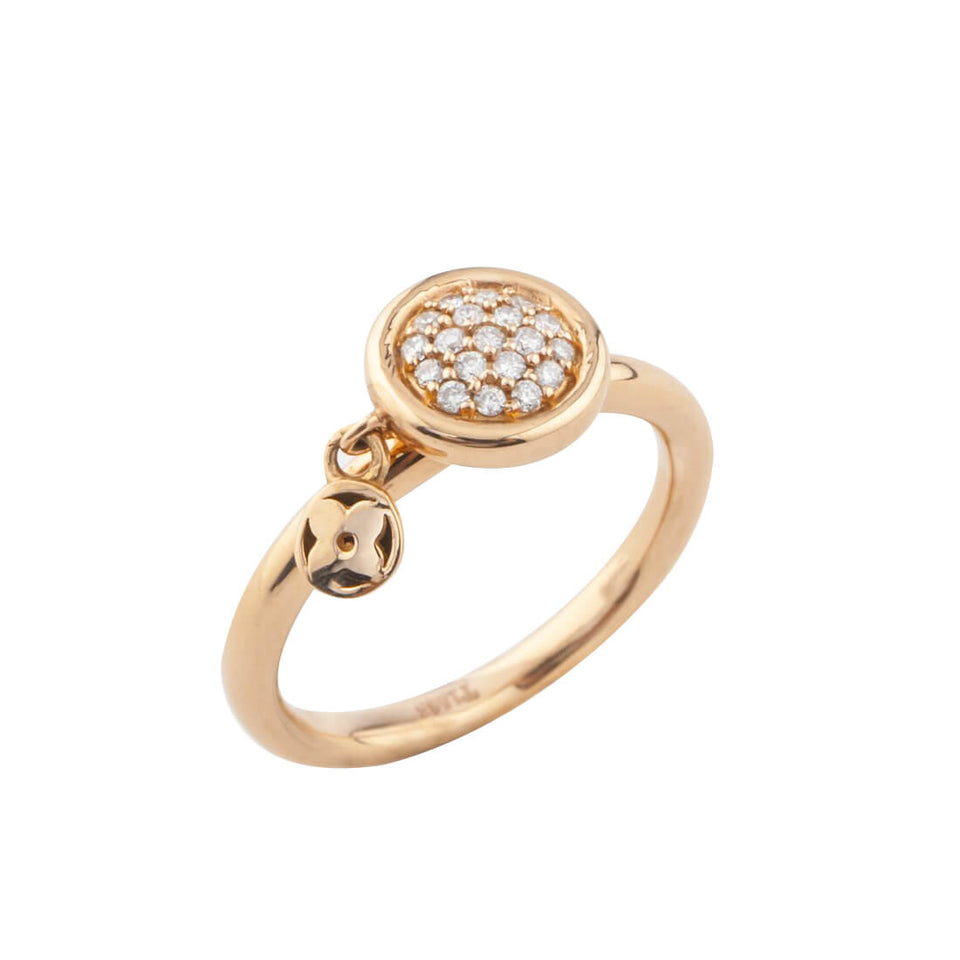 18K Gold LV Ring with Diamond