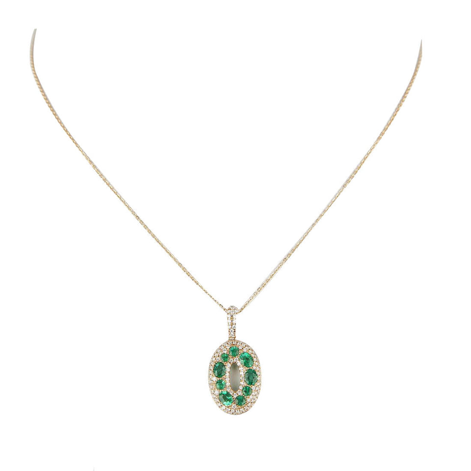 18K Gold Pendant with Diamond and Emerald