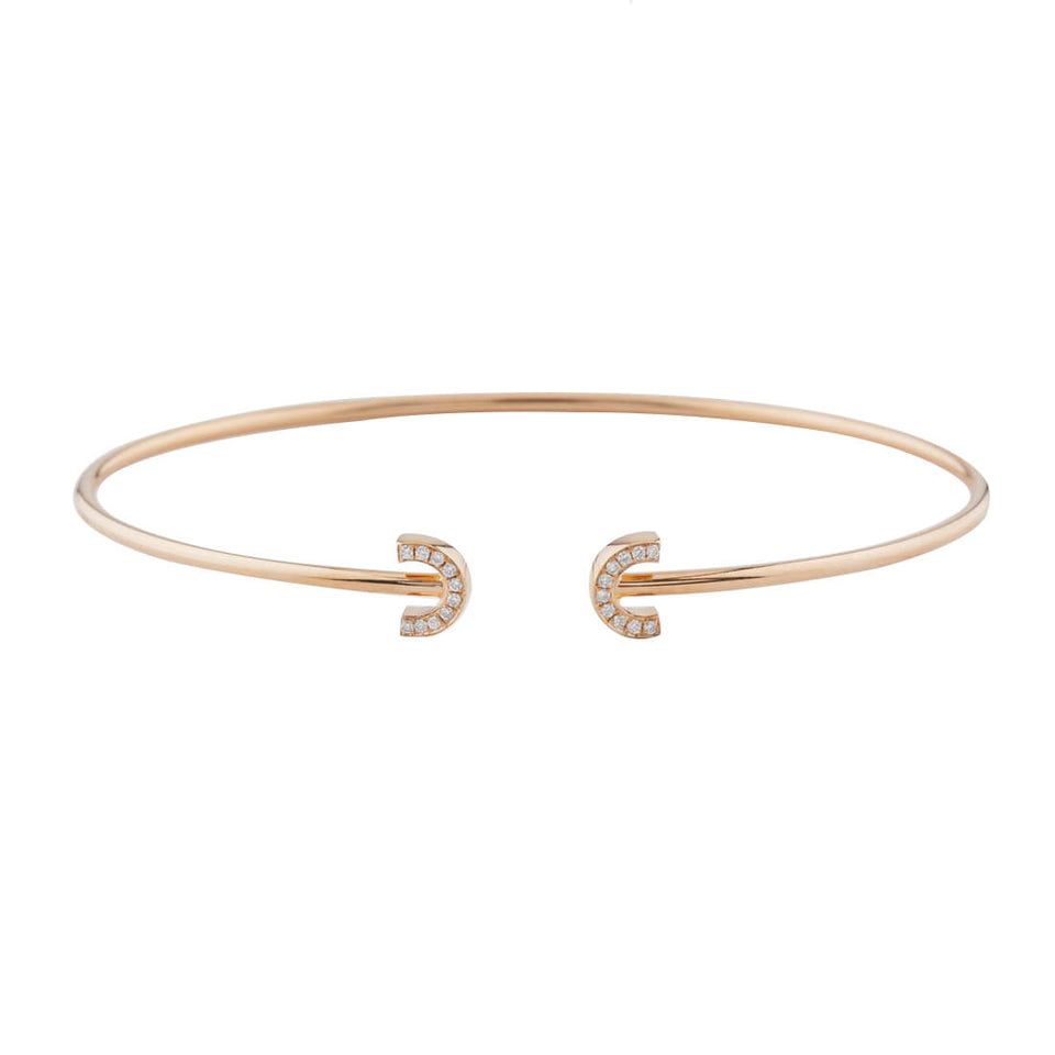 18K Rose Gold C Bracelet with Diamond