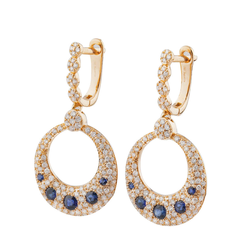 18K Rose Gold Safir Earring with Diamond