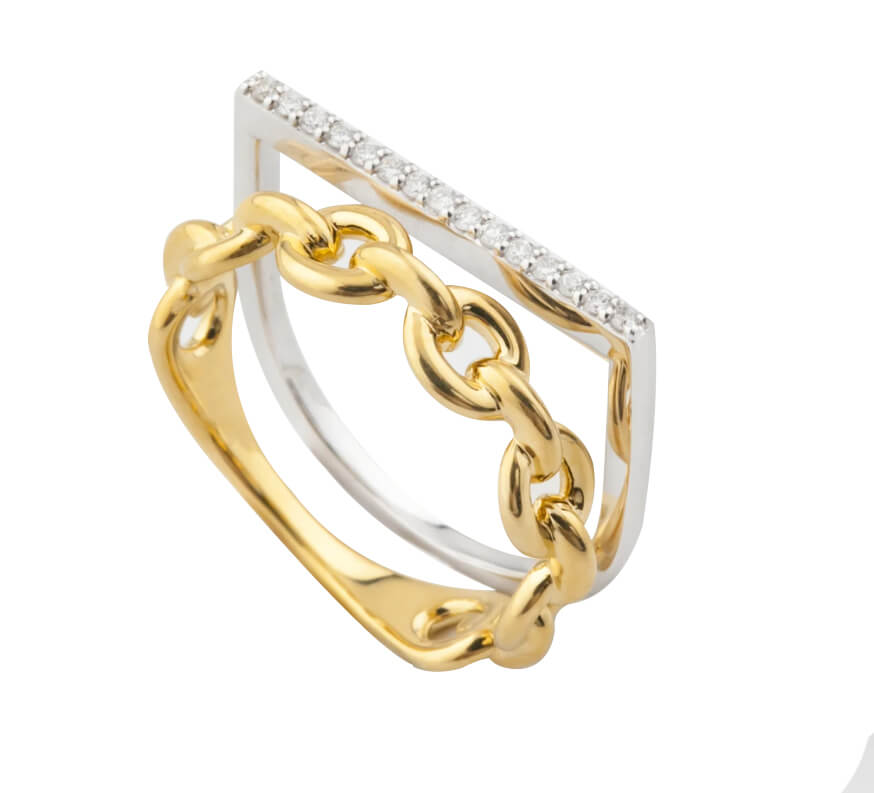18K Gold Chain Ring with Diamond