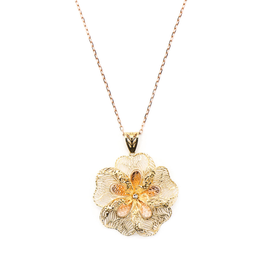 18k two tone flower pendent with rose gold chain