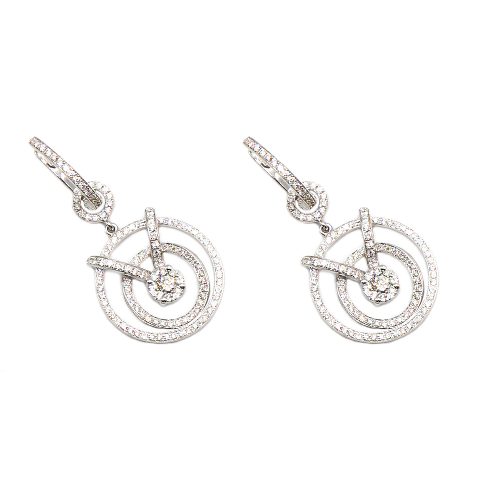 18k white gold round dangeling earrings illusion setting