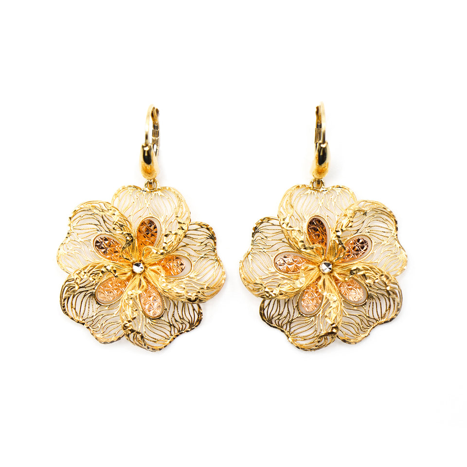 18k yellow gold flower earrings with small cz in the center