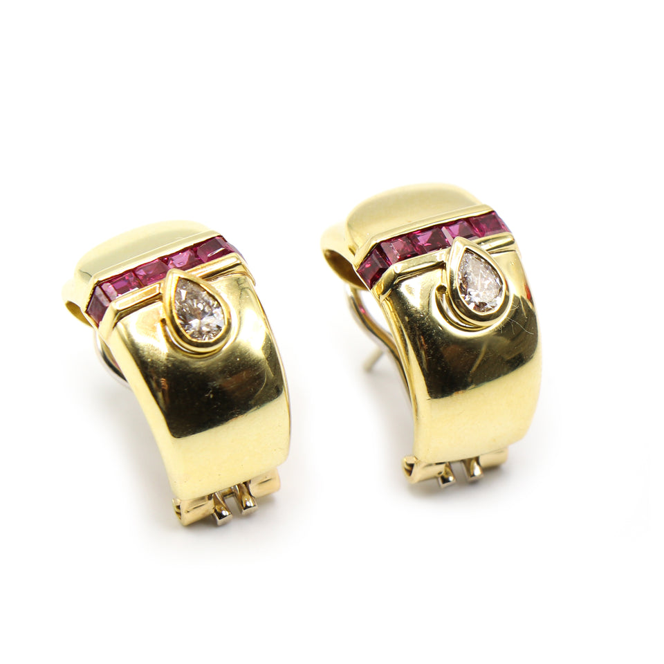 18k yelloow gold earrings with pear shape diamonds and rubies