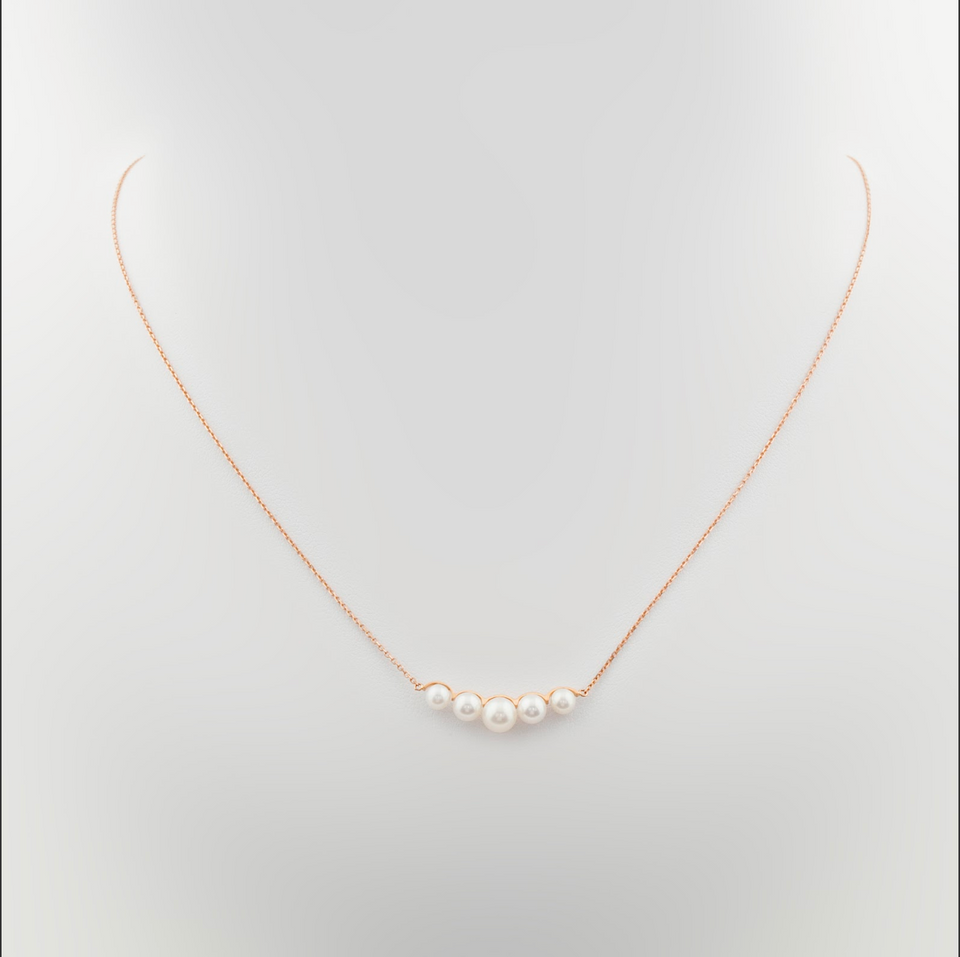 18K Gold Pendant with Row of Pearls