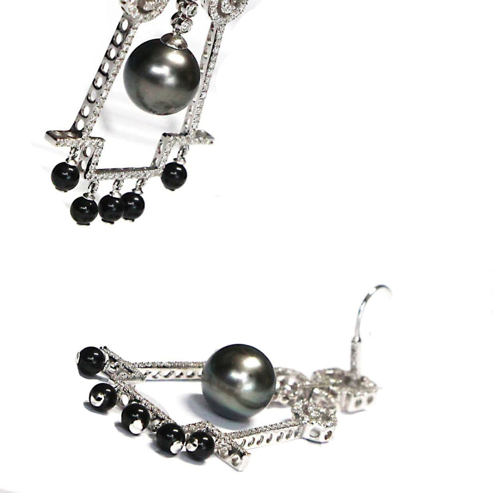 18k white gold designer black pearl earrings with black onyx