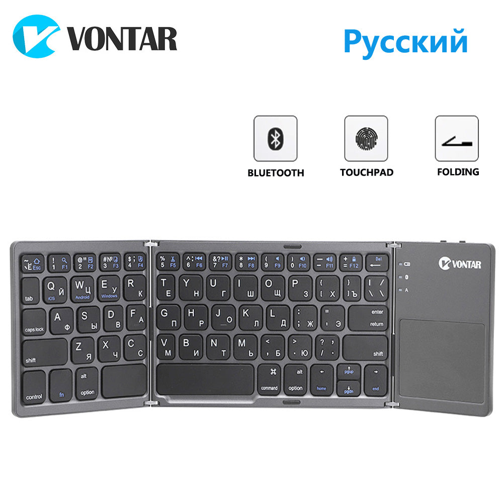 VONTAR Portable Folding Russian Wireless keyboard bluetooth Rechargeable BT Touchpad Keypad for IOS/Android/Windows ipad Tablet