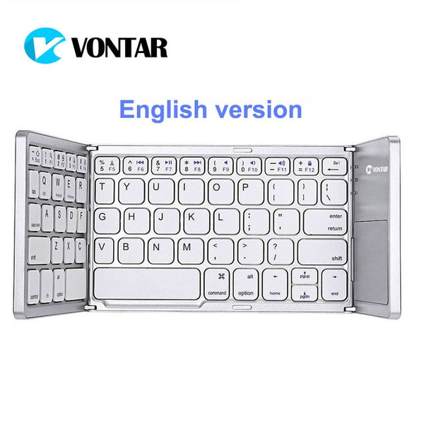 0dd6418fda1 ... VONTAR Portable Folding Russian Wireless keyboard bluetooth  Rechargeable BT Touchpad Keypad for IOS/Android/ ...