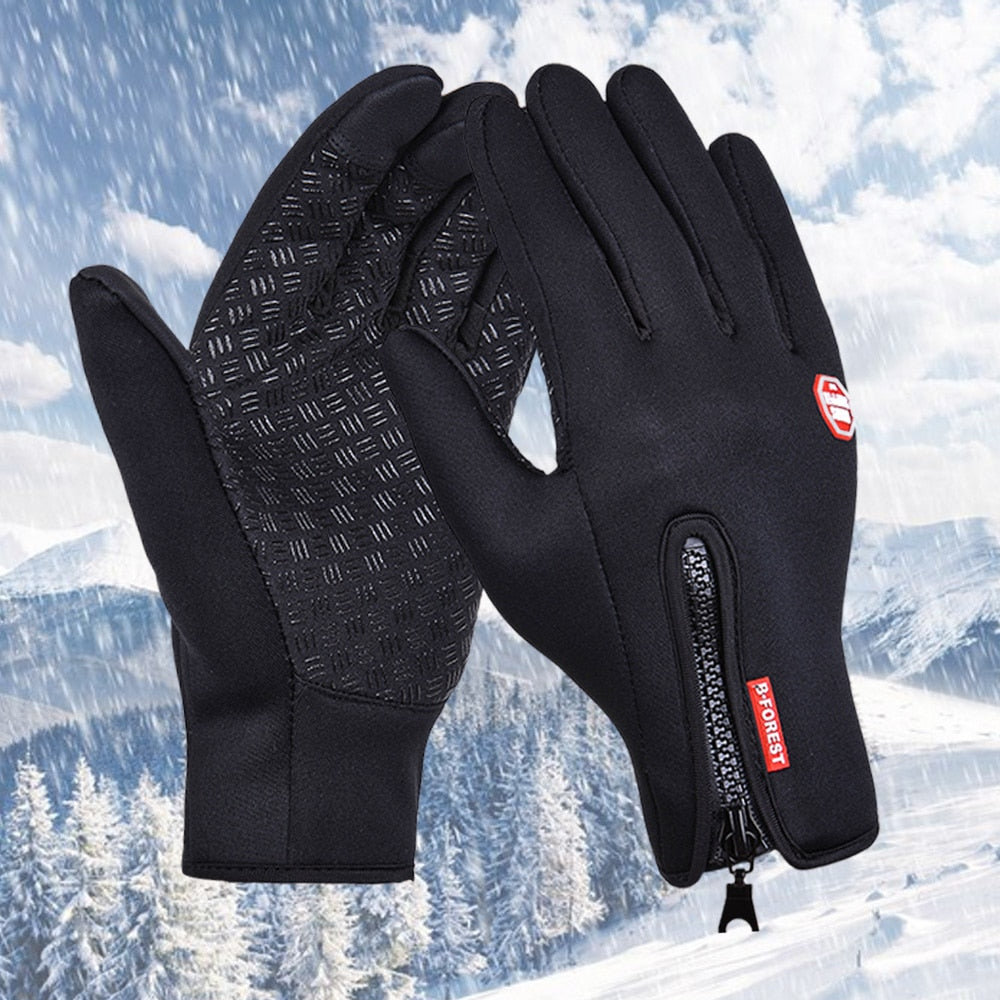 Ourdoor Sport Windstopper Gloves Black Motorcycle Full Finger Cycling Black Skiing Gloves Winter Warm Heated Gloves