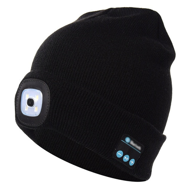 woman Outdoor Winter Lighted Warm Hat Hiking Windproof Heating Warm Hat LED Headlight USB Charging Music Mountaineering Cap