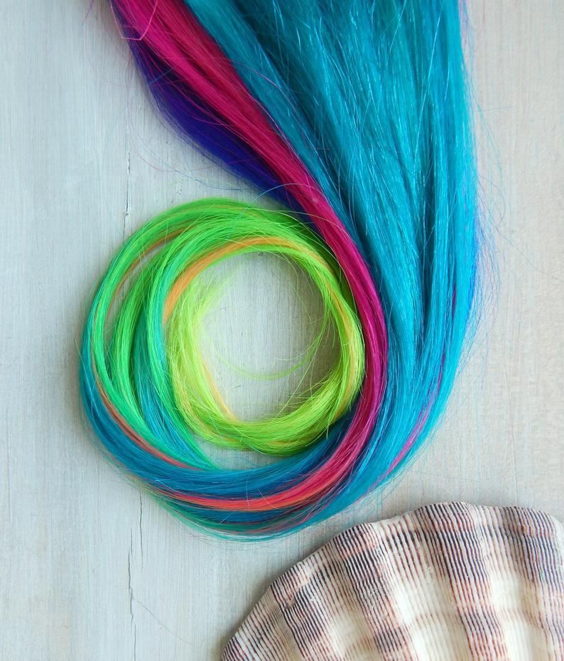 Moonstone Rainbow Hair Extensions, Sand Art Hair, Human Hair Extensions, Ombre Neon Hair, Clip In Hair Extensions, Vibrant Hair, Colorful