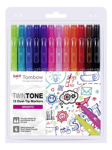 Image of Tombow - Twintone Marker Sets-ArtSuppliesOnline-Bright-12-ArtSuppliesOnline