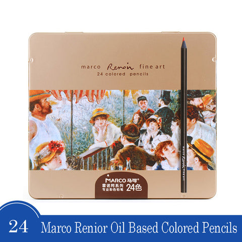 Image of Marco - 3200 Renior Oil Based polychromos-ArtSuppliesOnline-24 colors metal box-ArtSuppliesOnline
