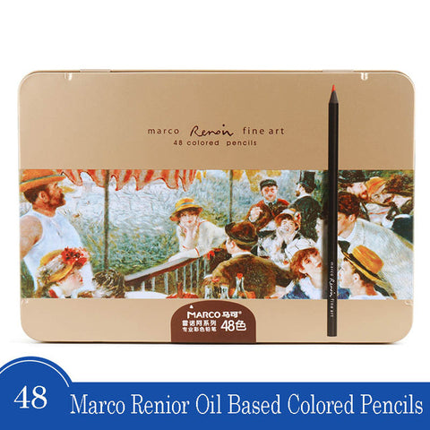 Image of Marco - 3200 Renior Oil Based polychromos-ArtSuppliesOnline-48 colors metal box-ArtSuppliesOnline