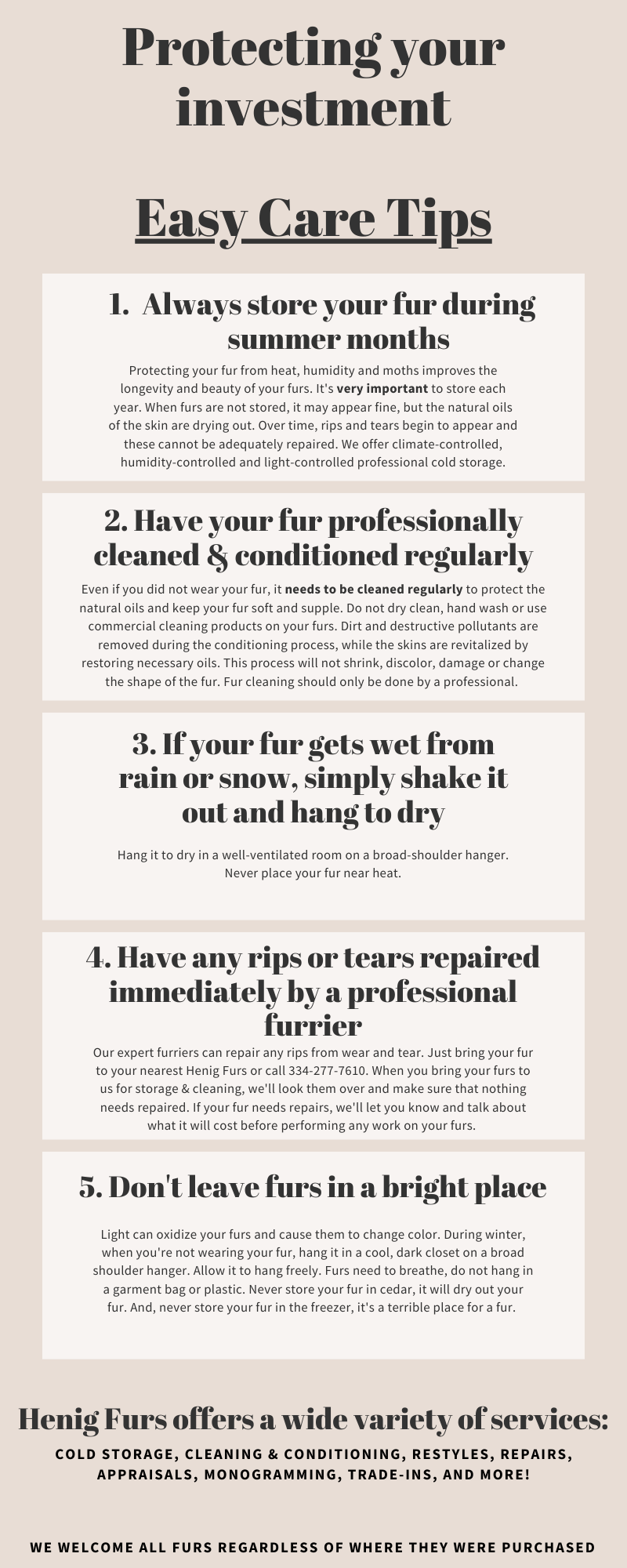 Caring for your fur - Protect your investment - Easy Care Tips