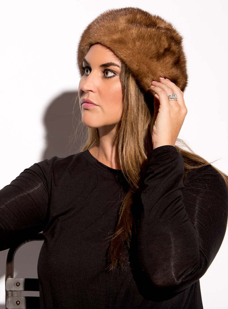 women's mink fur beret hat