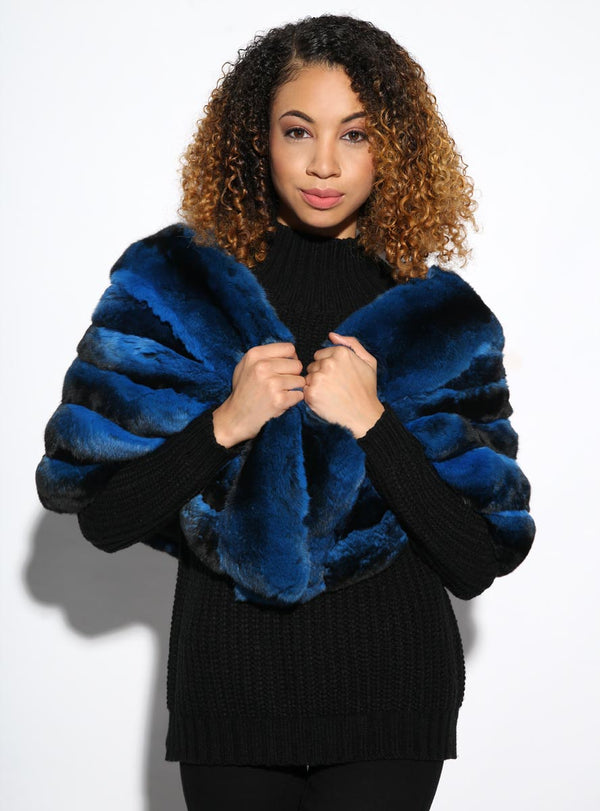 Women's BLUE Chinchilla Fur Cape
