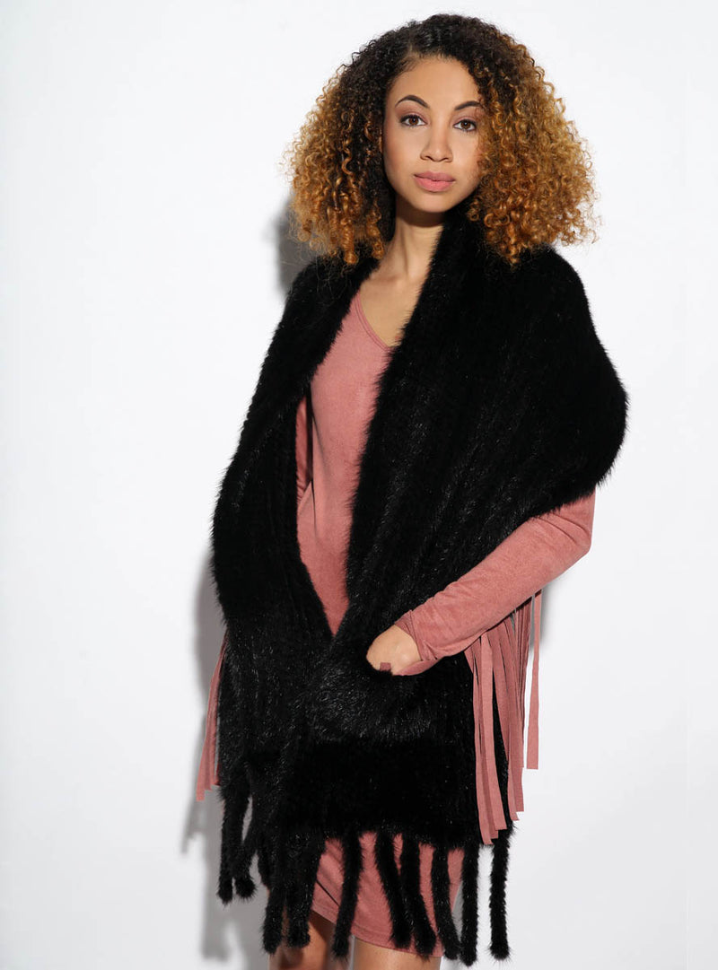Knitted Mink Fur Shawl with Fringe and Pockets