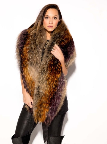 Large Multi-Color Raccoon Fur Collar