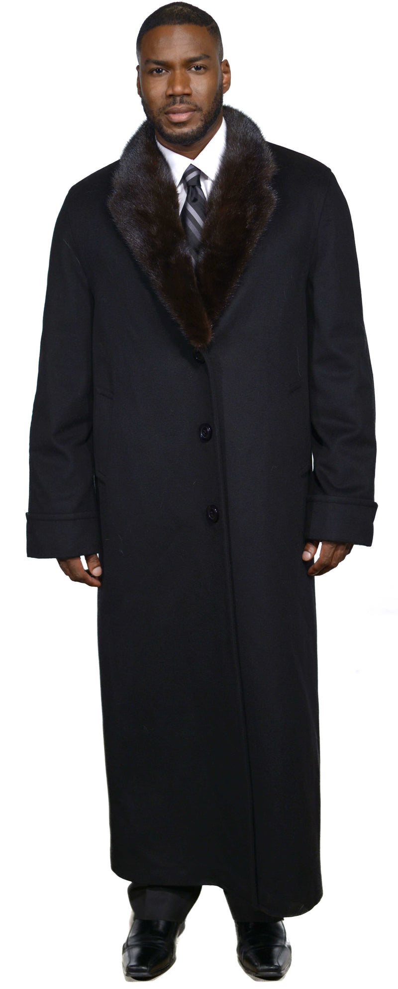 Men's Cashmere Coat with Full Skin Mink Fur Collar