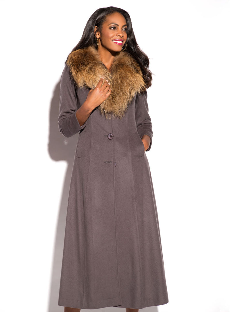 women's cashmere coat, raccoon fur collar
