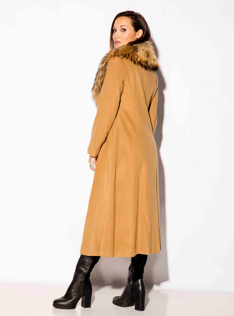 Cashmere Coat with Detachable Raccoon Fur Shawl Collar