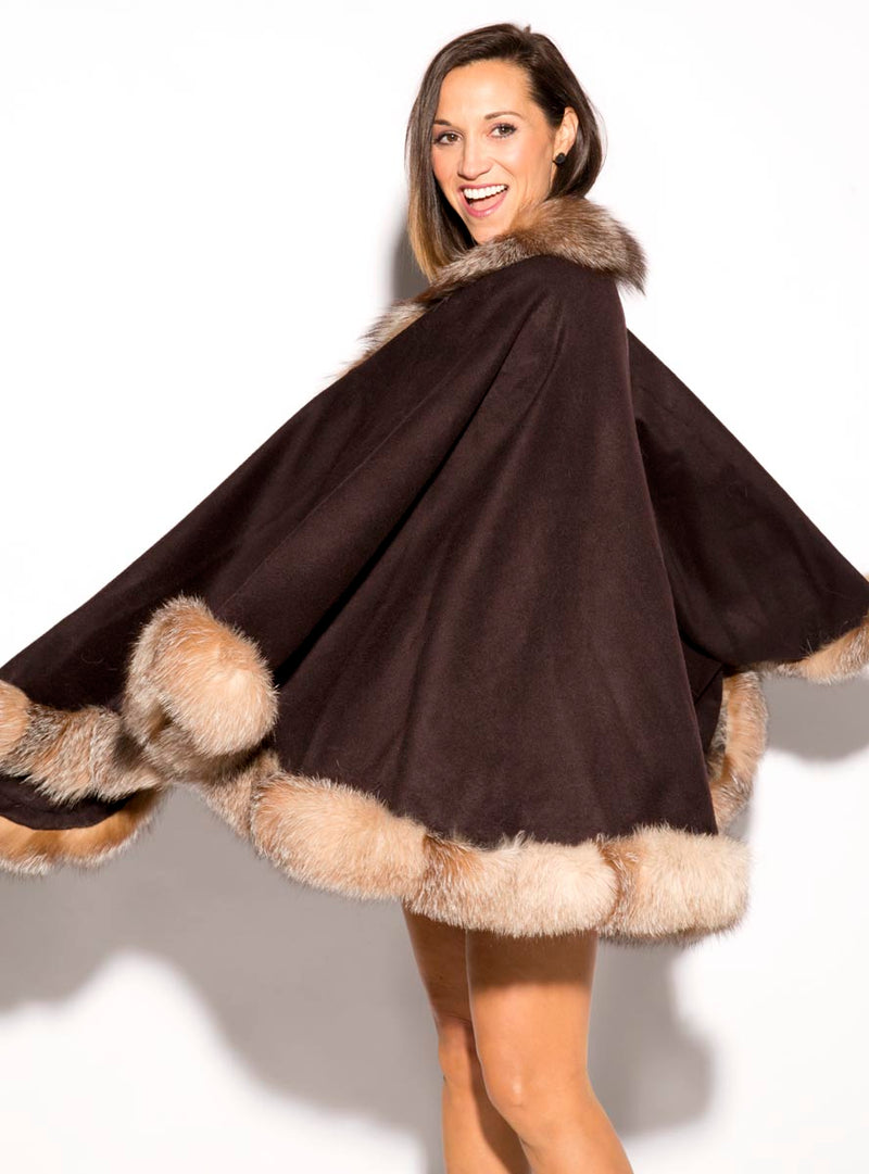 Women's Brown Cashmere Cape with Crystal Fox Fur Trim