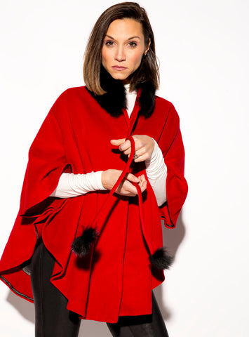 Wool Cape with Fox Fur Collar & Pom Pom