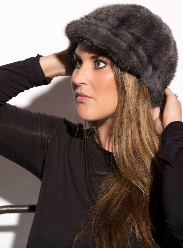 women's mink fur hat, baseball fur hat
