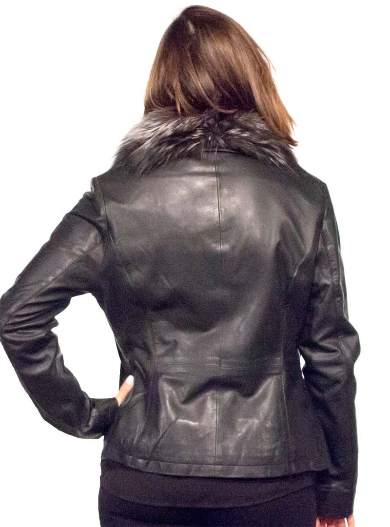 Lamb Leather Jacket with Detachable Fox Fur Collar
